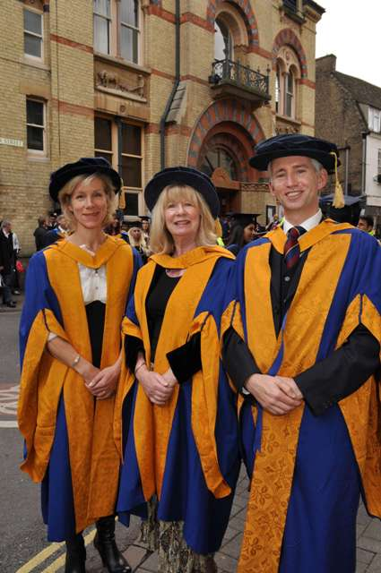 Juliet Stevenson CBE, Bryony Pawinska and Grahame Davies after the ceremony in Cambridge